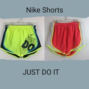 Lot of 2 Nike Running Athletic Neon Shorts Small